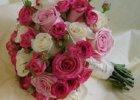 sliczny bukiet slubny z bialych i rozowych roz