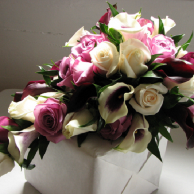bukiet slubny kala i roze