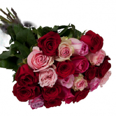 bukiet z czerwonych roz rozowych roz